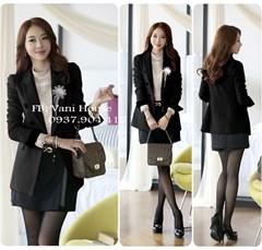 Áo khoác vest dài tay phối đen đính hoa VK26 - V150