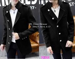 Áo khoác dạ nam cao cấp màu đen VKN12 - V295