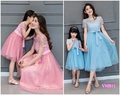 Set đầm ren xòe thắt nơ Mẹ và Bé VMB11 - V255