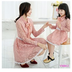 Set đầm ren xòe thắt nơ Mẹ và Bé VMB12 - V225