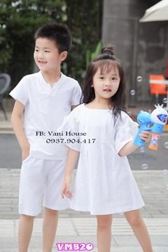 Set đầm bé gái kèm áo bé nam VMB20 - V95
