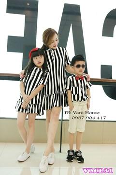 Set đầm sọc Mẹ và Bé + áo sơ mi bé nam VMB32 - V275
