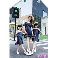 Set đầm xòe phối ren Mẹ và Bé VMB36 - V225