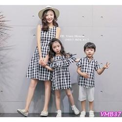 Set đầm sọc caro Mẹ và Bé + set bé nam VMB37 - V255