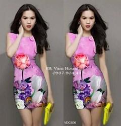 Đầm body in hoa 3D giống ngọc trinh VDCS06 - V135