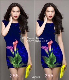 Đầm body in hoa tulip 3D giống ngọc trinh VDCS25 - V170