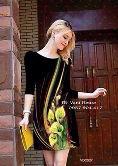 Đầm suông in hoa 3D tay lở VDCS27 - V185