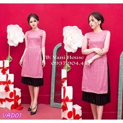 Set áo dài đính cườm + Váy dập nhún VAD01 - V245