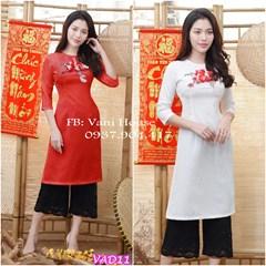 Set áo dài + quần lửng ống suông VAD11 - V225