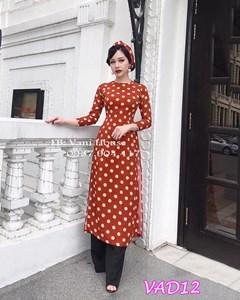 Set áo dài chấm bi + quần dài kèm khăn Turban VAD12 - V195