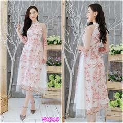 Set áo dài thêu hoa + Chân Váy xòe VAD19 - V295