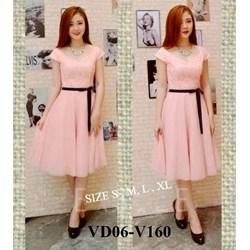 Đầm hồng phối ren cao cấp kèm dây đeo VD06 - V160