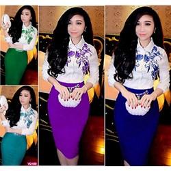 Set nguyên bộ sơ mi trắng in hoa chân váy kèm belt VD189 - V210
