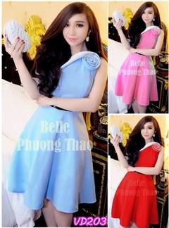 Đầm xòe lệch vai hoa hồng giống Bella VD203 - V50