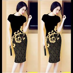 Đầm suông in hoa 3D VD257 - V185