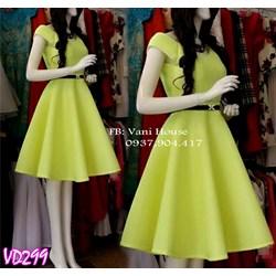 Đầm xòe cổ V kèm belt đơn giản cực xinh VD299 - V135