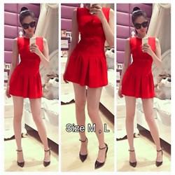 Đầm đỏ xòe đính nơ Ngọc Trinh VD308 - V140