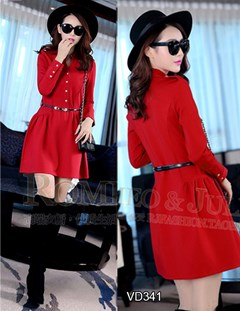 Đầm đỏ tay dài cổ trụ Juliet VD341 - V165