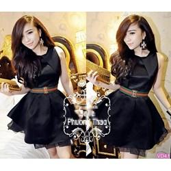 Đầm đen xòe fake D&G kèm belt đồngVD41 - V185