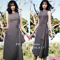 Đầm vạt chéo đính nút eo VD455 -V165