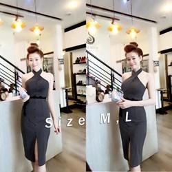Đầm body cổ yếm kết nút phối ren VD478 - V140