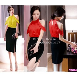Set nguyên bộ áo hở vai váy xẻ tà VD484 - V125