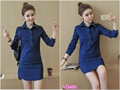 Đầm Jean tay dài nút bọc VD486 - V155