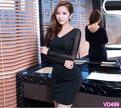Đầm ôm cổ tim tay dài VD499 - V130