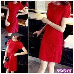 Đầm đỏ ren suông tay ngắn xinh xắn VD517 - V155