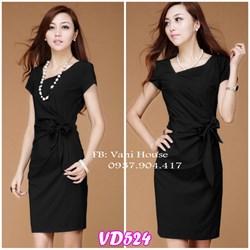 Đầm tay con xếp ly cột nơ éo VD524 - V145