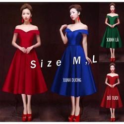Đầm xoè phi lụa bẹt vai VD567 - V150