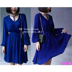Đầm xòe tay dài bo thun eo VD578 - V160
