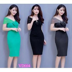 Đầm ôm body trễ vai cách điệu VD604 - V150