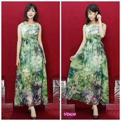 Đầm maxi xanh eo bo thun VD630 - V135