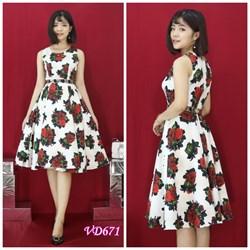 Đầm gấm in hoa nổi VD671 - V145