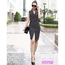 Đầm cổ vest xẻ trước VD709 - V140