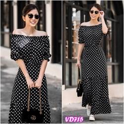 Đầm maxi chấm bi bẹt vai VD715 - V175
