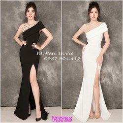 HÀNG THIẾT KẾ: Đầm dạ hội xẻ đùi cô đính đá cao cấp VD735 - V265