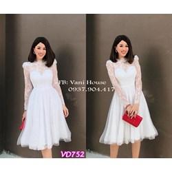 Đầm ren xòe cúp ngực tay dài VD752 - V215