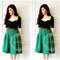 Đầm ren xòe phối váy xanh VD90 - V160