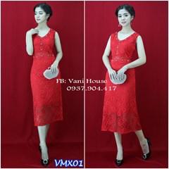 Đầm ren maxi cổ V đính ngọc xinh xắn VMX01 - V150