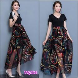 Hàng Nhập: Đầm thun chân váy hoa VQC01 - V245