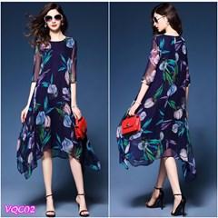 Hàng Nhập: Đầm voan hoa tay lỡ VQC02 - V195