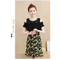 HÀNG NHẬP: Đầm dập nhún chân váy hoa VQC108 - V215