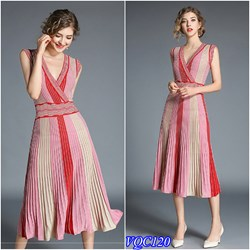 Hàng Nhập: Đầm xòe dập nhún cổ vạt chéo VQC120 - V245