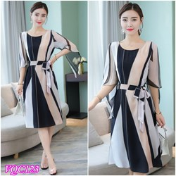 Hàng Nhập: Đầm voan họa tiết sọc váy xẻ VQC123 - V185