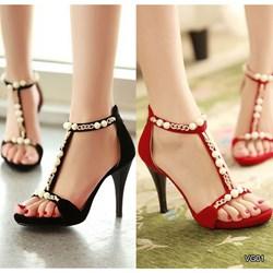 Giày cao gót đính ngọc trai VG01 - V195