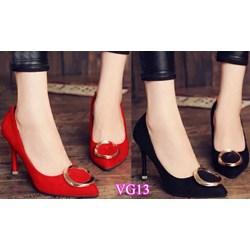 Giày cao gót mũi nhọn đính tag VG13 - V75