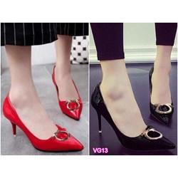 Giày cao gót mũi nhọn đính tag VG13 - V145