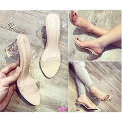 HÀNG HOT: Giày quai trong gót pha lê VG25 - V185